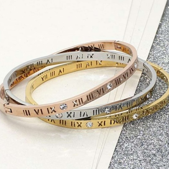66a6cae510c6 New Classic Gold Modern Roman Cuff Bracelet Bangle